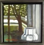 """""""Fönsterspegling"""", olja på duk, 20 x 20 cm, 1.800:-"""
