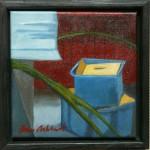 """""""Lådor"""", olja på duk, 20 x 20 cm, 1.800:-"""